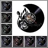 FDGFDG Círculo de Guitarras Instrumento Musical Silueta Reloj de Pared Música Rock Guitarrista eléctrico Disco de Vinilo Reloj de Pared
