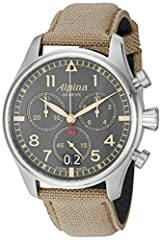 Al-372 high precision quartz chronograph caliber with big date display Split/add function, 13 jewels and 48 months battery life Swiss-quartz Movement Case Diameter: 44mm Water Resistant To 330 Feet