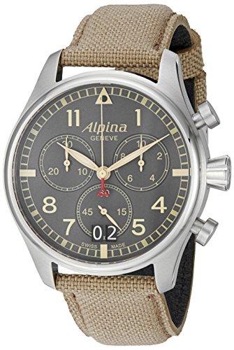 Alpina Herren al-372bgr4s6Startimer Pilot Chronograph Big Date Analog Display Swiss Quarz Beige Armbanduhr