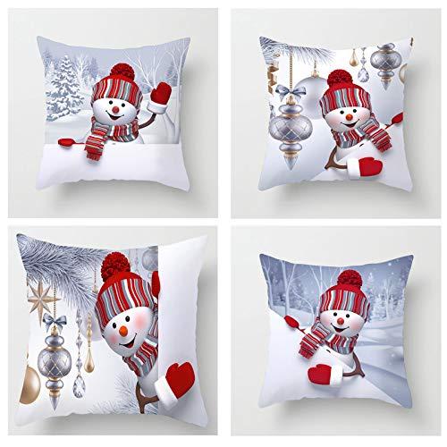 Conjunto De 4 Poliester Cojinetes De Almohadas,Navidad Muñeco Decoraciónativo Fundas De Almohada,Casa Decoración Cuadrado,18x18 Pulgadas Dibujos Animados Fundas