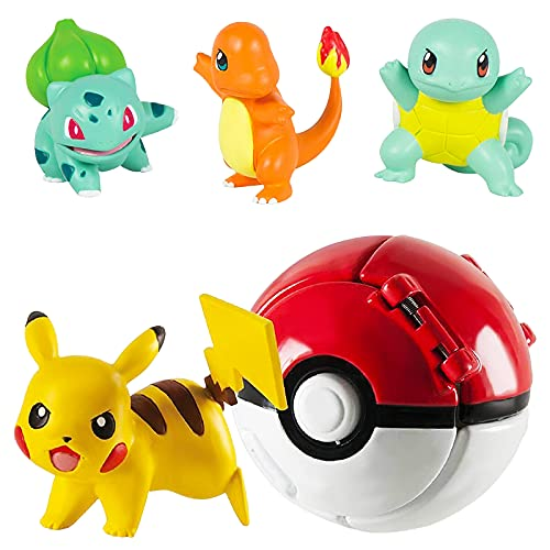 Pokemon Ball, Pokemon Throw N Pop Ball avec 4 Figurines d'action Pikachu - Lancer et Pop Balles Pokemon pour garçons Filles ou Cadeaux d'anniversaire pour Enfants