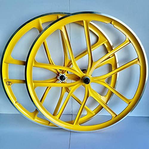 "R4 26"" BMX CNC Bicycle 10 Spoke Mag Alloy Wheelset (Yellow)"