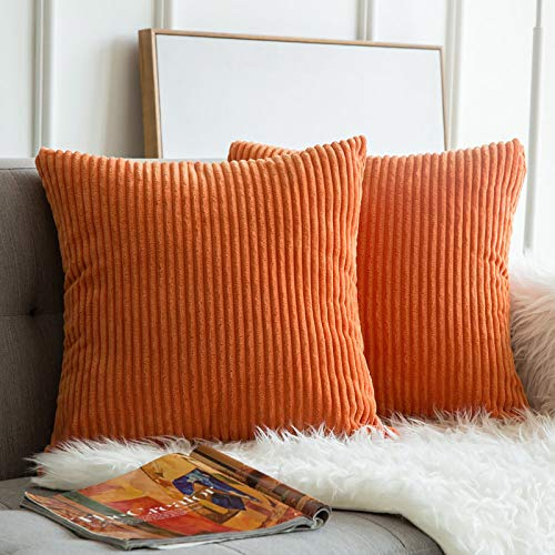 MIULEE Pack of 2, Corduroy Soft Soild Fall Decorative Square Throw Pillow Covers Set Cushion Cases Pillowcases for Sofa Bedroom Car 18 x 18 Inch 45 x 45 cm