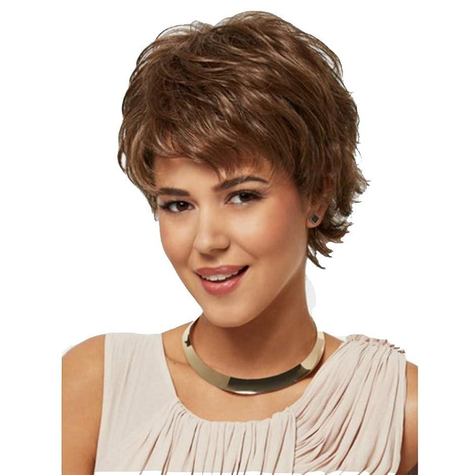 ストレス導出水っぽい女性巻き毛のかつら合成100%ブラジル人毛ウィッグブラウン28 cmのために耐熱性