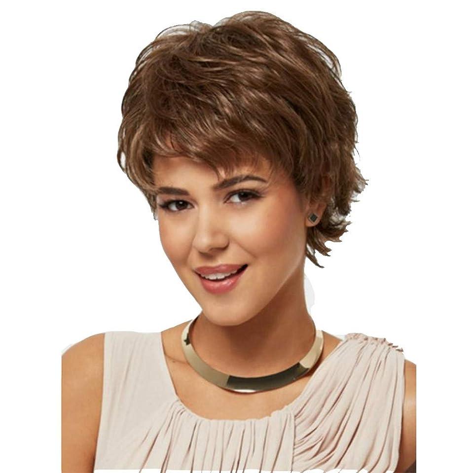結び目実際の無限大女性巻き毛のかつら合成100%ブラジル人毛ウィッグブラウン28 cmのために耐熱性
