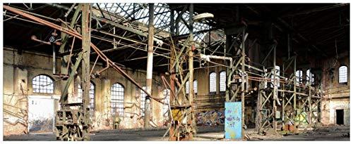 Wallario Glasbild Verlassene Industriehalle - Alte Fabrik - 32 x 80 cm in Premium-Qualität: Brillante Farben, freischwebende Optik
