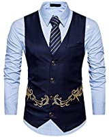 MAGE MALE Mens Suit Vest Tailored Formal Business Single Breasted Golden Pattern Dress Waistcoat Navy Large