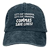 Commas Save Lives Gorra de Mezclilla Deportiva Ajustable Snapback Unisex Llanura Sombrero de Vaquero de béisbol Estilo clásico