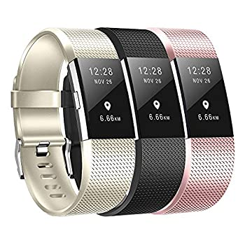 Baaletc Replacement Bands Compatible Fit bit Charge 2 Classic Accessories Band Sport Strap for Fit bit Charge 2 Large&Small Women&Men Champagne Gold/Black/Rose Gold