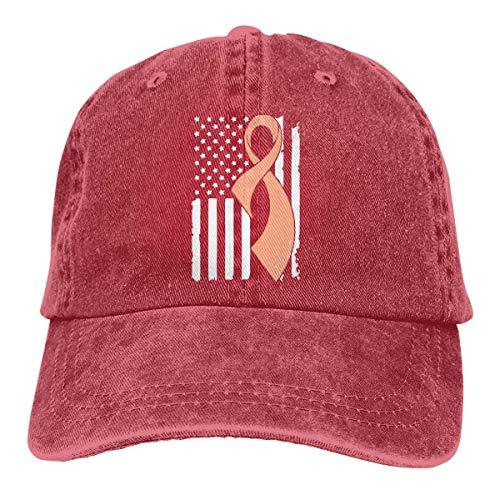 Yuanmeiju Baseball Kappe for Men Women, Uterine Cancer Awareness Flag-1 Women's Cotton Adjustable Jeans Cap Hat