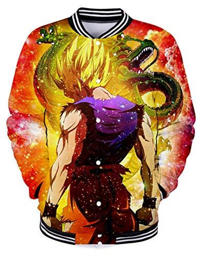 Silver Basic Cuello Redondo Sudadera para Adultos Dragon Ball Goku Chaqueta Algodón Bolsillo,1050-2,M