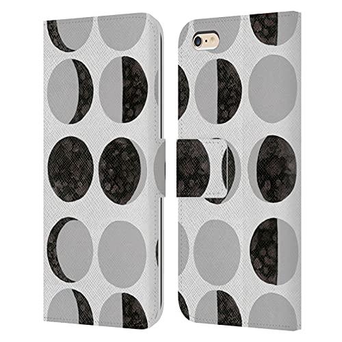 Head Case Designs Officially Licensed Amanda Laurel Atkins Fases Lunares Blancas Patrones Carcasa de Cuero Tipo Libro Compatible con Apple iPhone 6 Plus/iPhone 6s Plus