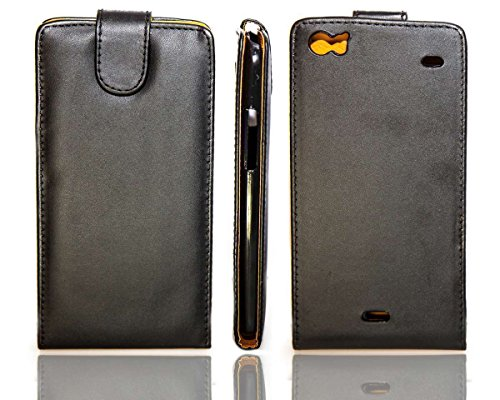 caseroxx Flip Cover & Bildschirmschutzfolie für Wiko Darkside, Set (Flip Cover in schwarz)