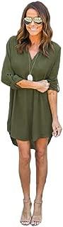 Chiffon Blouse Long Sleeve T Shirt V Collar Casual Dress Balck Tops