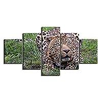 草の上に横たわるヒョウ5パネル壁絵絵画装飾ギフト額入りアートワーク写真写真プリントキャンバス