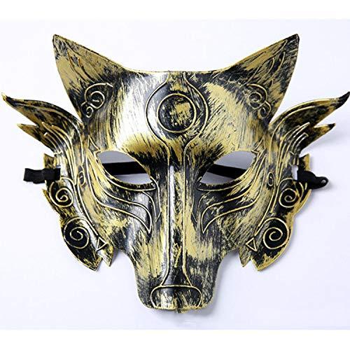KYX-GAOMOUREN Decoración De Halloween Máscara De Hombre Lobo Terror Horror Divertida Cabeza De Lobo Máscara Halloween Suministros,A