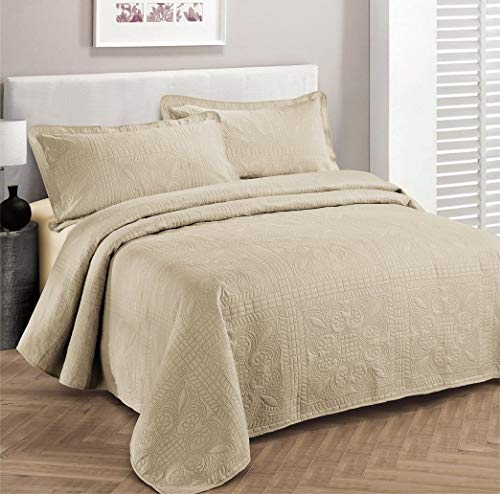 Fancy Collection 3pc Luxury Bedspread Coverlet Embossed Bed Cover Solid Beige New Over Size 118'x106' King/California King