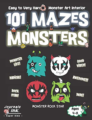 Monster Maze Book for Kids Ages 4-8: 101 Puzzle Pages. Custom Art Interior. Cute fun gift! SUPER KIDZ. Heavy Metal Rock Music.