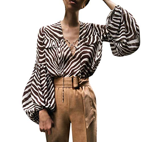 Sexy Laterne Ärmel Shirt Damen Bluse Tiefem V-Ausschnitt Braun Zebra Drucken T-Shirts Schnürung Elegant Tops Herbst Casual Mode Langarmshirts Clubwear Oberteile(Braun,L)