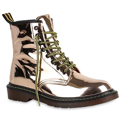 Damen Stiefeletten Lack Worker Boots Schnürer Grunge Punk Leder-Optik Schnürstiefeletten...
