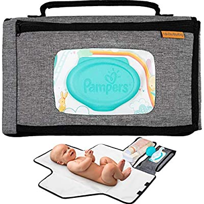 liuliuby Smart Changing Kit - Portable Diaper Changing Pad with Wipes Dispenser Pocket - Extra Large Mat for Baby and Toddler