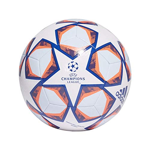 adidas Fin 20 TRN Soccer Ball, Men's, White/Team Royal Blue/Signal Coral/Sky Tint, 5