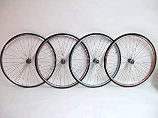 XRP Vuelta 700c Colored Track Fixed Gear Fixie Single Speed Bike Wheel Set with 700 x 23c Kenda Tires and Tubes Package