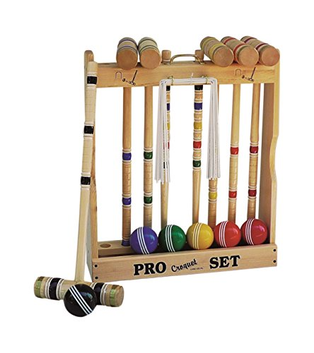 6 Player Croquet Set Amish-Made in Wood Rack with 24