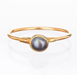 Raw Black Pearl Ring, Yellow Gold, Size 6, Artisan Jewelry