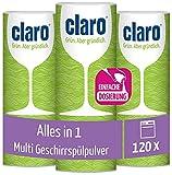 Claro Multi Alles-in-1 Geschirrspül-Pulver - Phosphatfrei & Umweltfreundlich - Öko-Spülmaschinen-Pulver - 3x 800 g