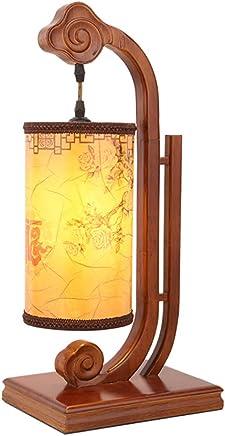MILUCE 中国のベッドルームのベッドサイドランプクリエイティブレトロ装飾スタンドランプのアイ保護ソリッドウッドティールーム