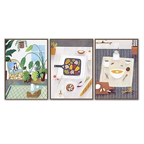 CHENSHU Lienzo Pintura Vajilla de Dibujos Animados Arte de la Pared Impresión de Carteles e Impresiones Cuadros de la Pared para la Sala de Cocina 70x90cm (27.5x35.4 Pulgadas)Sin Marco Vajilla