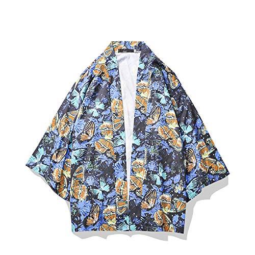 DXHNIIS Butterfly Print Kinomo Übergroße Hemden Männer Hülse mit DREI Vierteln Lose Hemden für Herren Street Herrenhemden L Blauer Kimono