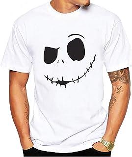 Overdose Camiseta De Los Hombres Manga Corta Verano Nueva Sonrisa Malvada Cara Impresa O-Collar CóModo Superior Adolescente Acogedor Simple Blusa