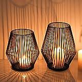 AMENGNI Juego de 2 portavelas de alambre de metal negro, vintage, soporte para velas, alambre de hierro, soporte para velas para velas de té, decoración creativa para Navidad, boda, chimenea