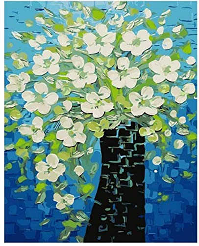 Painting By Numbers DIY DIY digital oil White Maglia Flower Blue Background s -40x50cm-No Frame