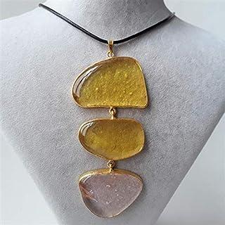 Especialmente diseñado, Latón chapado en oro, collar de vidrio de color pastel amarillo-rosa