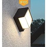 Yosoan LED-Wandleuchte Außenwandleuchte Wandleuchte Außenlampe Wandlampe für Innen und Außen schwarz IP65 Natürliches Weiß Lichtstrahl(5W 4000K)