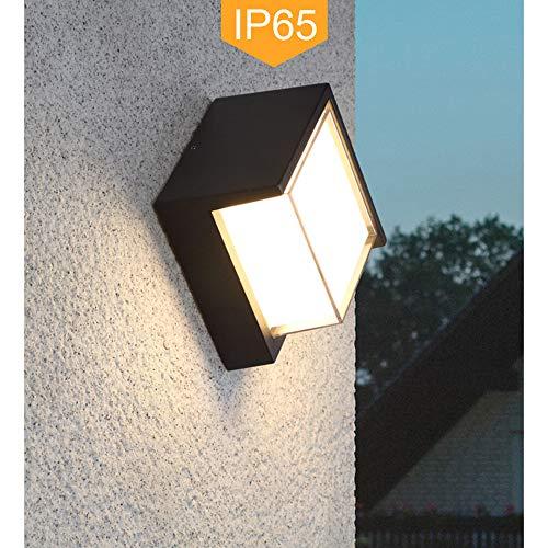 Yosoan LED-Wandleuchte Außenwandleuchte Wandleuchte Außenlampe Wandlampe für Innen und Außen schwarz IP65 Natürliches Weiß Lichtstrahl (8W 4000K)