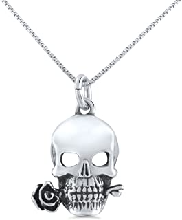 Best mens sterling silver skull necklace Reviews