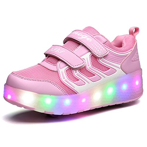 Chic Sources Girls Light up Roller Shoes with Two Wheels Skate Sneakers for Little Kids 13.5 Pink