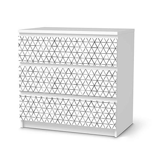 creatisto Klebe-Folie Möbel passend für IKEA Malm Kommode 3 Schubladen I Möbelfolie - Möbel-Folie Tattoo Sticker I Schöner Wohnen für Schlafzimmer und Wohnzimmer - Design: Mediana