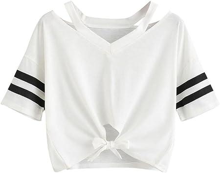Blusa de Mujer Sexy Camiseta Corta Mujer Manga Corta Blusa ...
