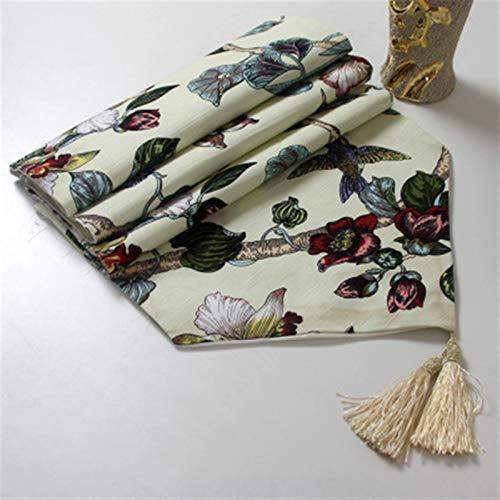Camino de mesa, mantel, diseño de magnolia, para decoración de fiestas, bodas, tela de bambú, para camino de mesa, mantel (color beige, tamaño: juego de toallas)