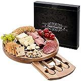 HBlife Käsebrett und Messer-Set, Akazienholz, rund, mit herausziehbarer Schublade für Wein, Käse, Fleisch, Einweihungsgeschenk, perfekte Wahl für Weihnachten, Hochzeitstag