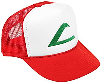 Pokemon Ash Ketchum Cosplay Hat 5 Panel Mesh Cap with Plastic Snap Closure - Adult & Youth Sizes Red