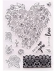 Welcome to Joyful Home 1pc from me to You Lots of Love Heart Flower Happy Valentine's Day Clear Stamp for Card Making Decoration and Scrapbooking 11x16cm