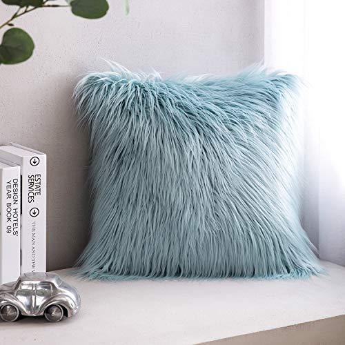 "PHANTOSCOPE Decorative New Luxury Series Merino Style Light Blue Faux Fur Throw Pillow Case Cushion Cover 18"" x 18"" 45cm x 45cm"