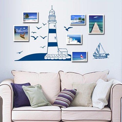 Marco de fotos de barco de vela para decoración de pared con diseño de gaviota marina
