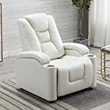 EBELLO Breathable Leather Gel Electric Power Recliner&Headrest, Home Theater Chair with Cup Holder&Storage (White)